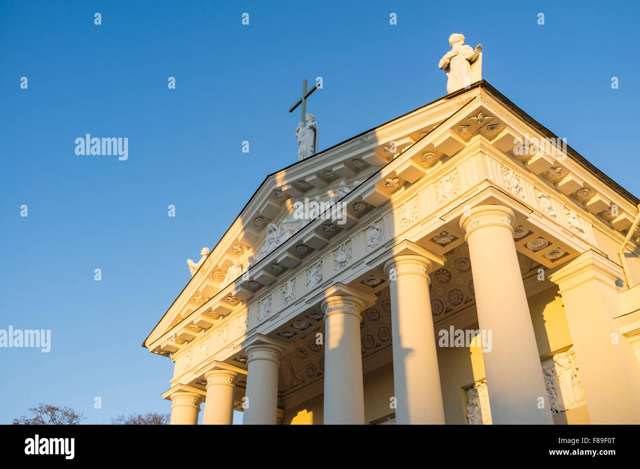 Vilnius Cathedral front in warm light. Vilnius, Lithuania, Europe - Stock Image