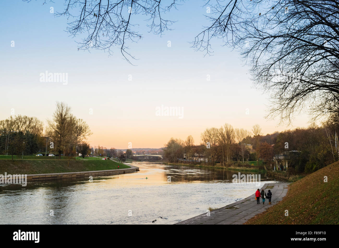 Fall landscape of Neris river at sunset through Vilnius, Lithuania, Europe - Stock Image