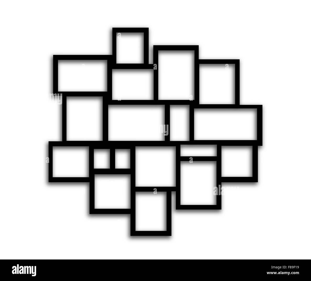 Black Rectangular frames on white background with shadows Stock ...