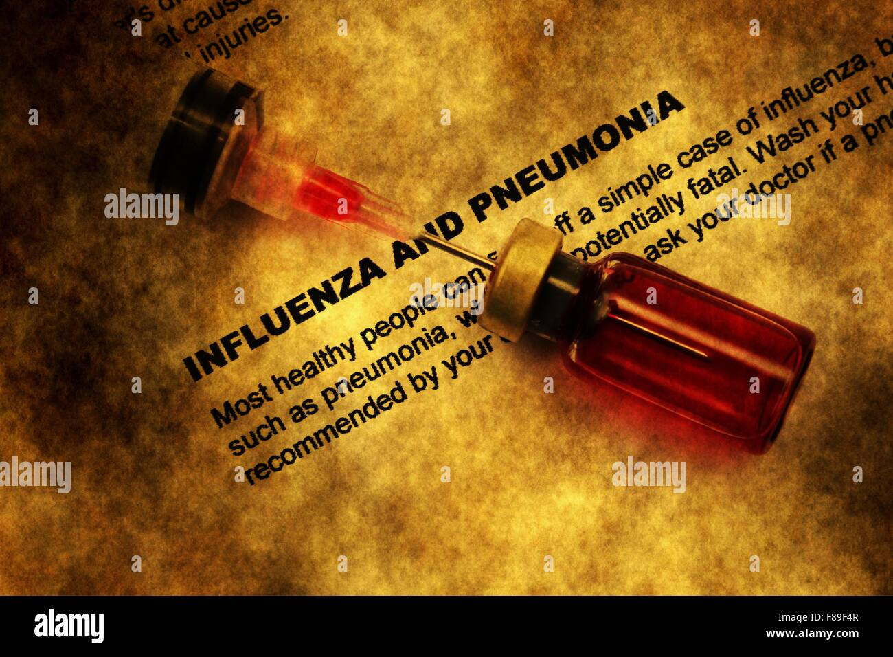 Influenza and pneumonia grunge concept - Stock Image