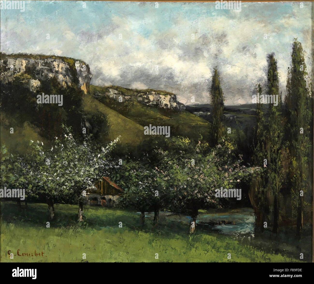 Gustave Courbet - Les Pommiers du Père Courbet à Ornans - Stock Image