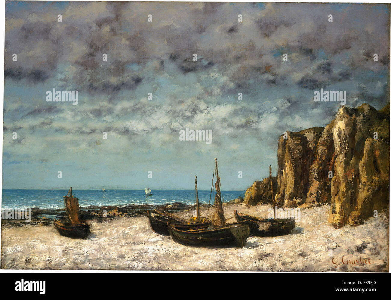 Gustave Courbet - Boats on a Beach, Etretat - Stock Image
