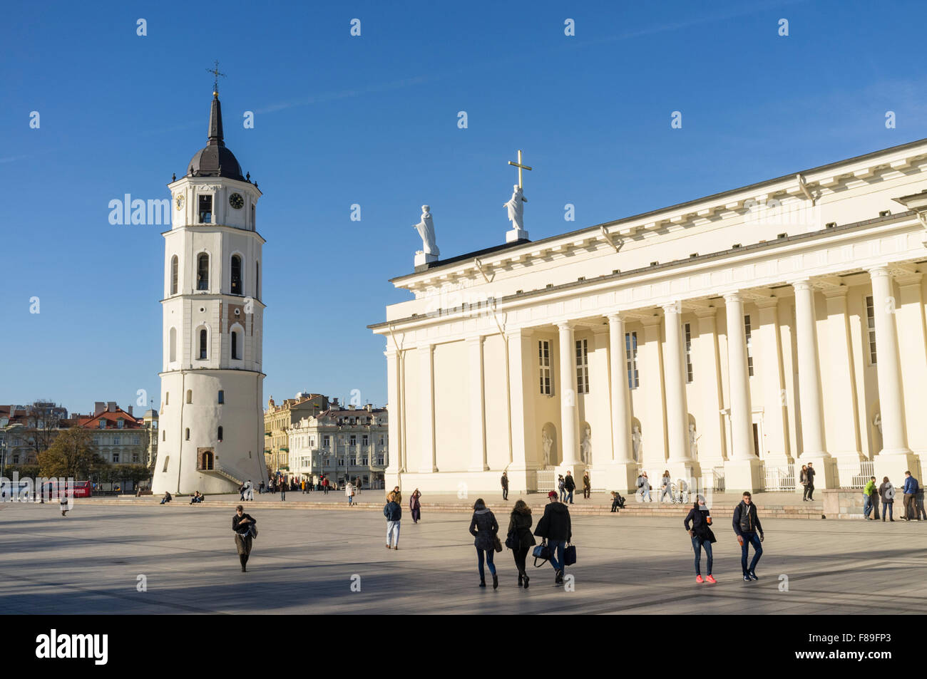 Vilnius Cathedral and belfry at Cathedral Square, Vilnius, Lithuania, Europe - Stock Image
