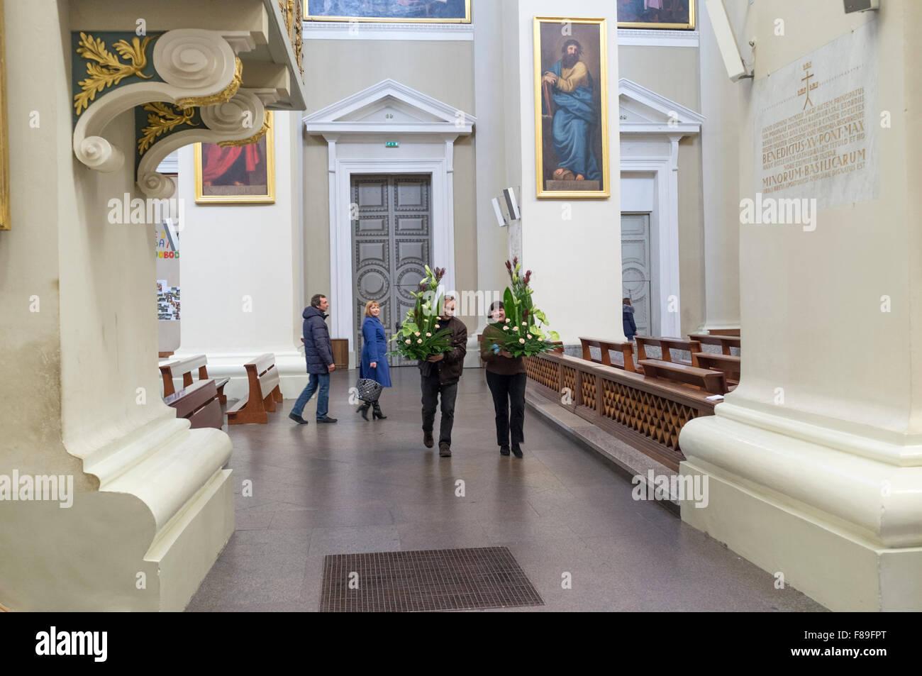 Interior of Vilnius Cathedral. Vilnius, Lithuania, Europe - Stock Image