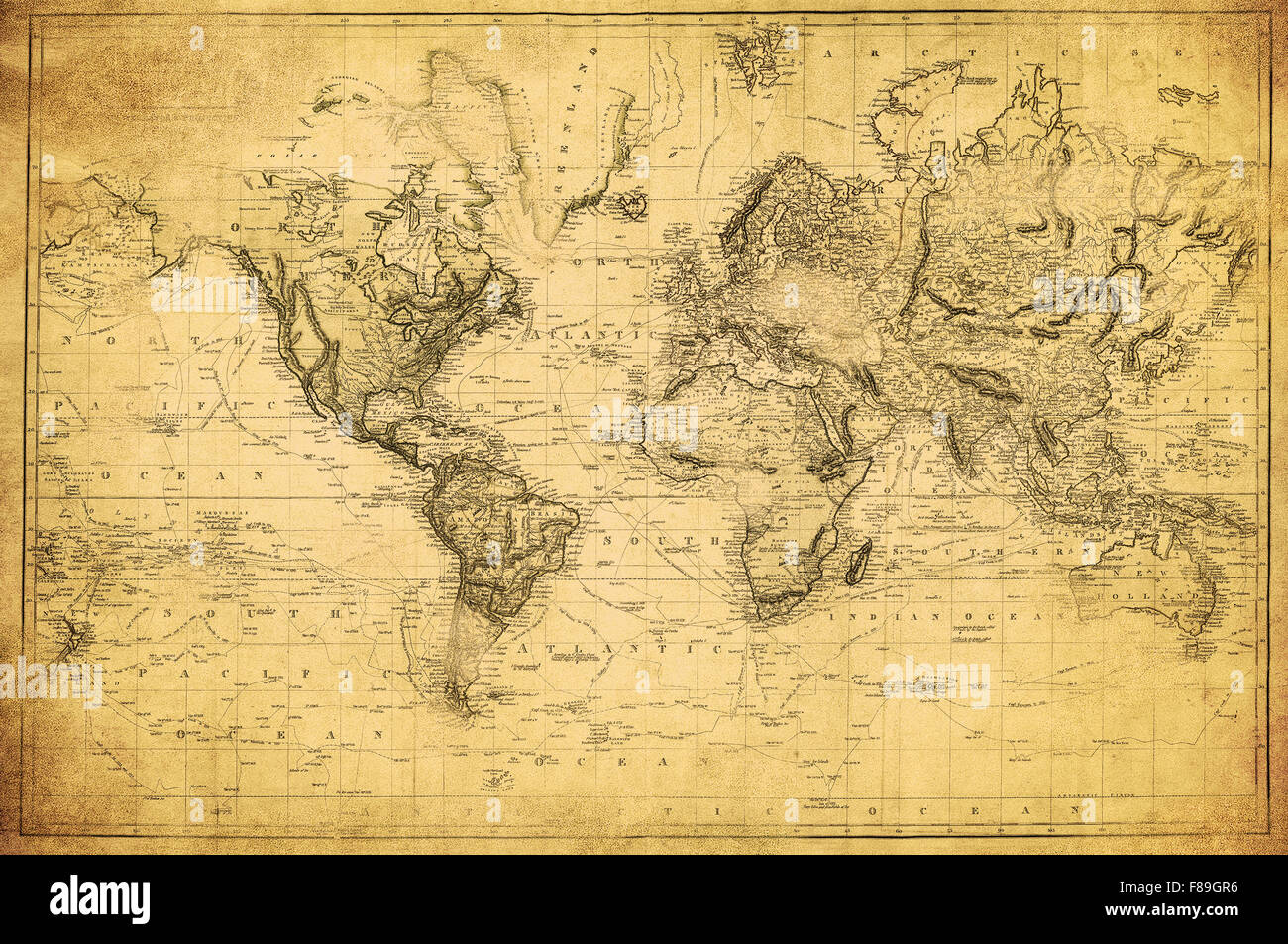 vintage map of the world 1831 - Stock Image