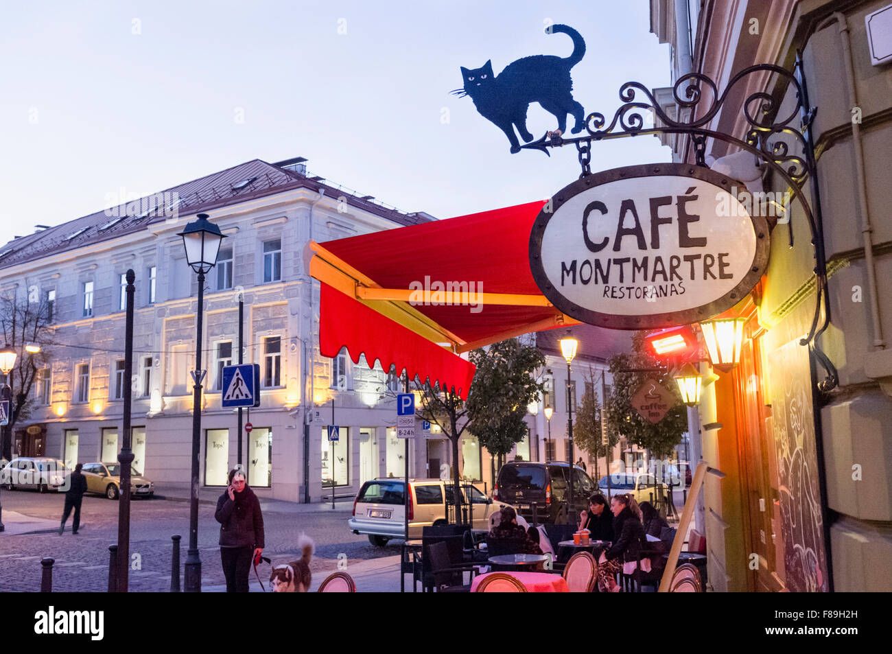 Cafe restaurant in Vilnius, Lithuania, Europe - Stock Image