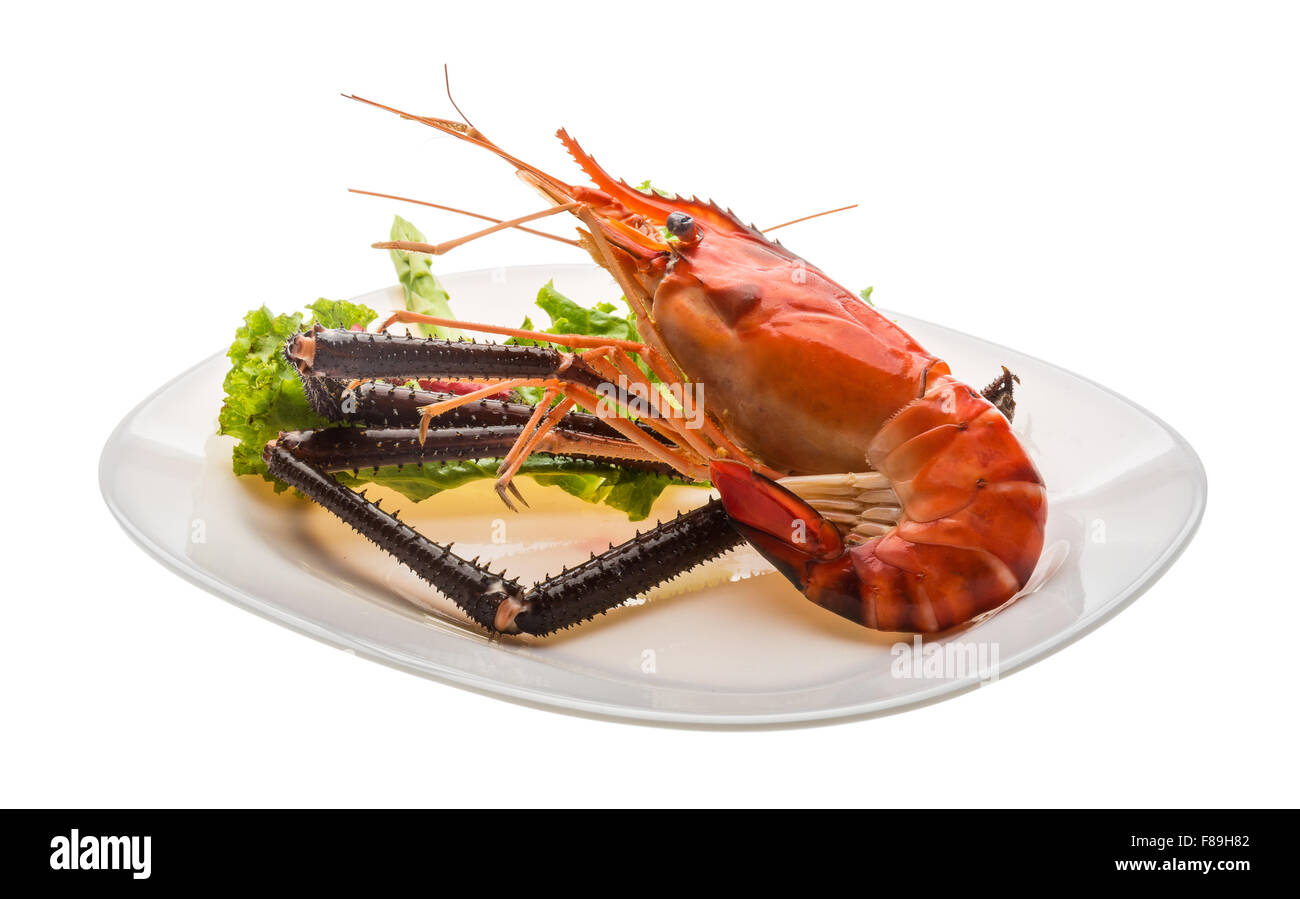 Giant Freshwater Prawn boiled with pepper Stock Photo