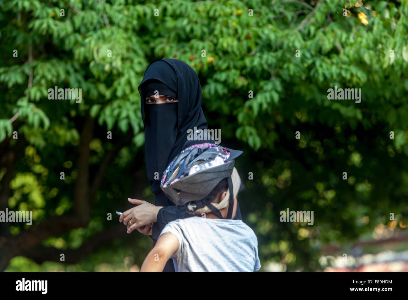 Spa guests - Arab community,North Bohemian spa town. Teplice, Czech Republic - Stock Image
