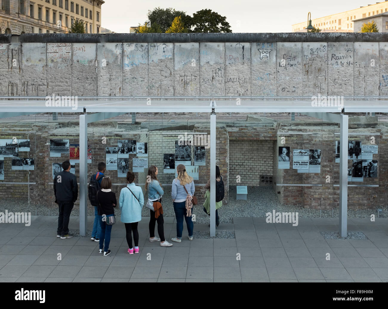 Exhibition Topography of Terror, Berlin Wall, Germany - Stock Image