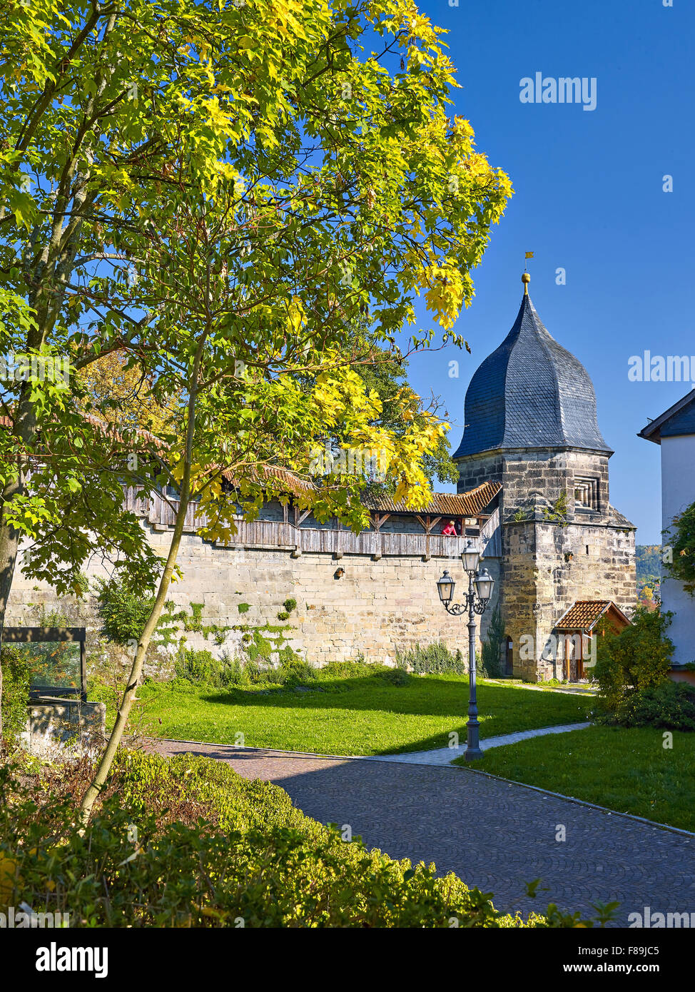 Witch tower of the city fortifications, Kronach, Germany - Stock Image