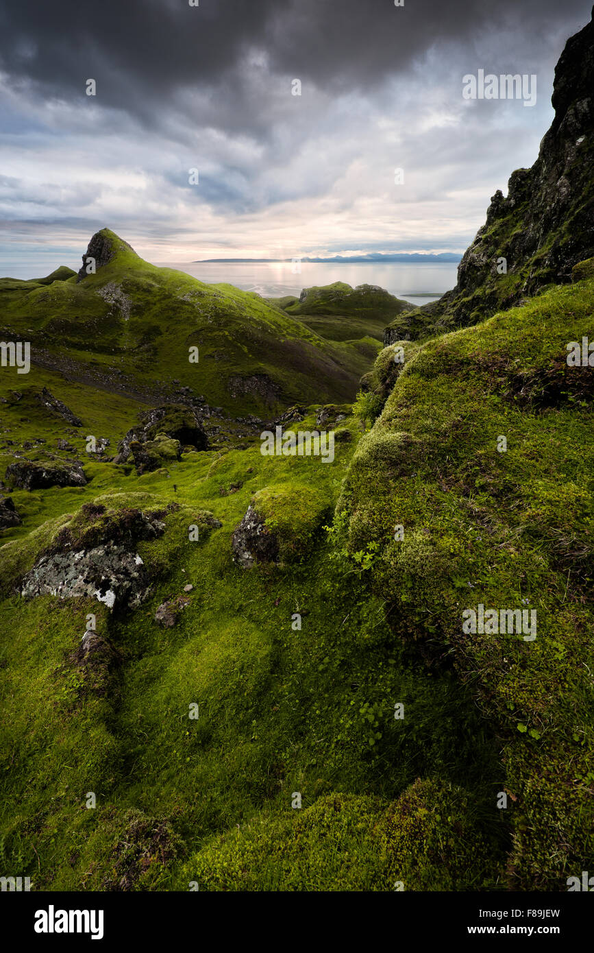 Sunset at Quiraing, Isle of Skye, Scotland, England, UK, Europe - Stock Image