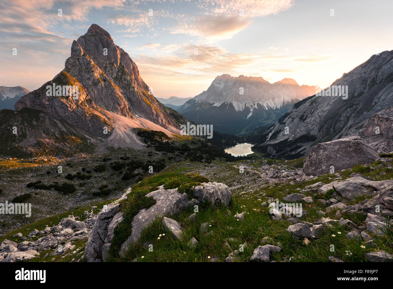 Seebensee with Zugspitze and Sonnenspitze, Wetterstein Mountains, Alps, Austria, Europe - Stock Image