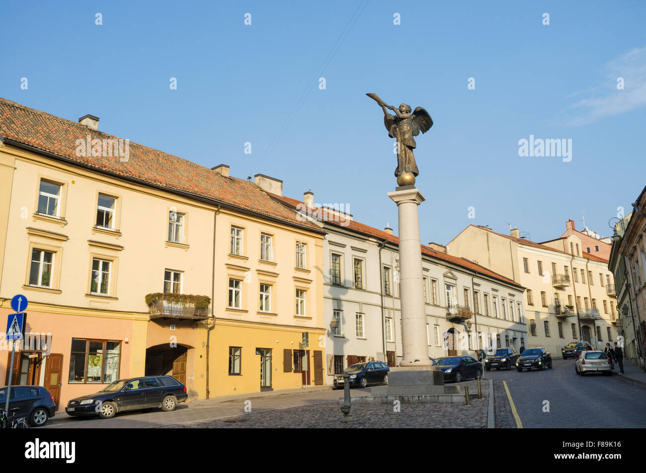 Angel of Uzupis monument in the self-declared independent republic at Uzupis bohemian district in Vilnius, Lithuania - Stock Image