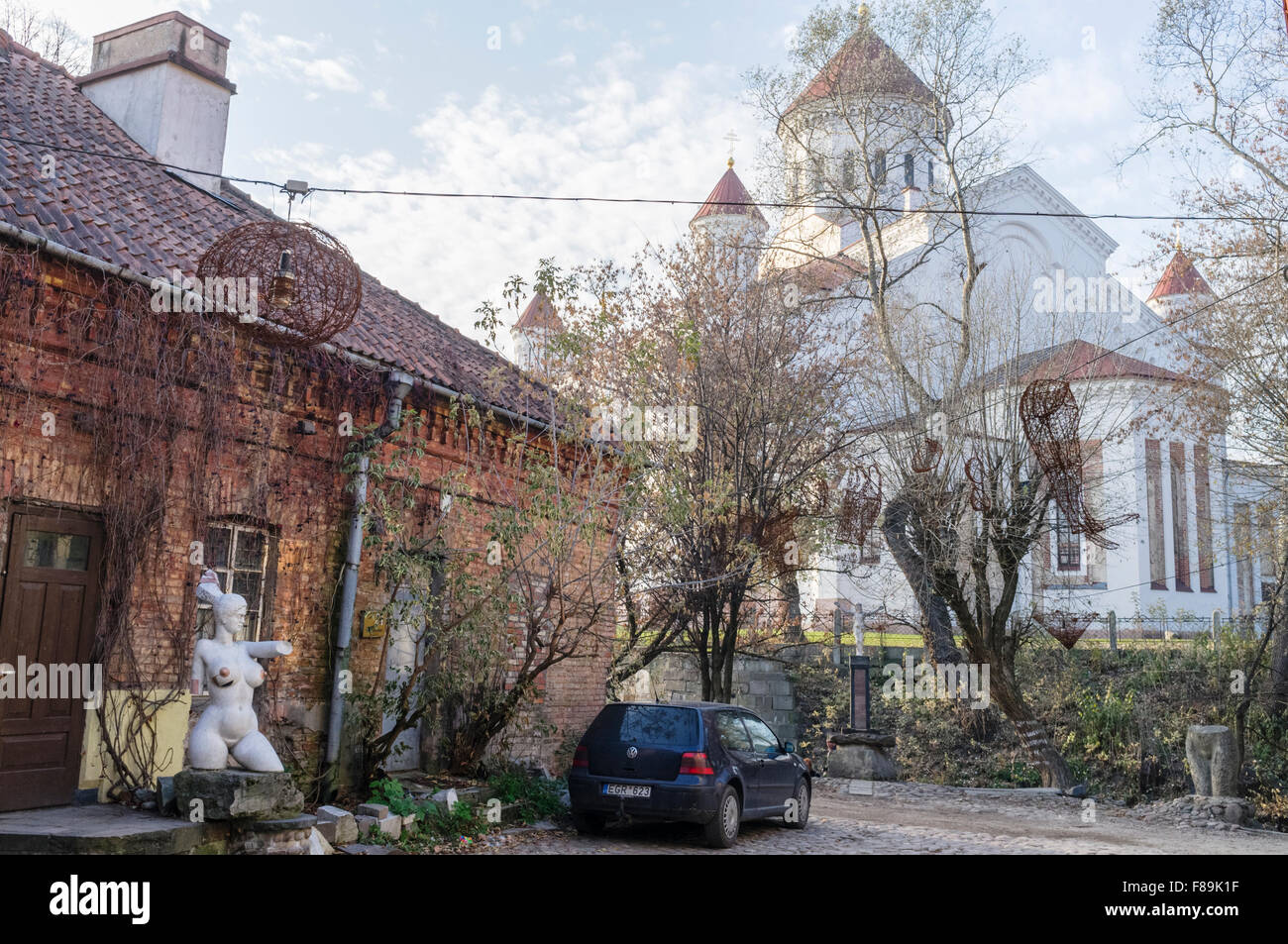Self-declared independent republic of Uzupis bohemian district. Church of the Holy Mother of God in background. - Stock Image