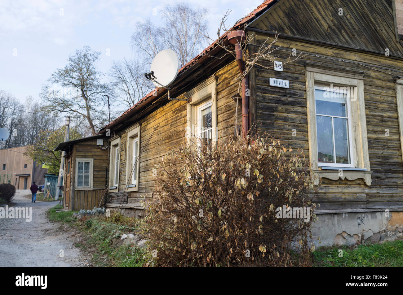 Wooden cabin at the self-declared independent republic of Uzupis bohemian district. Vilnius, Lithuania - Stock Image