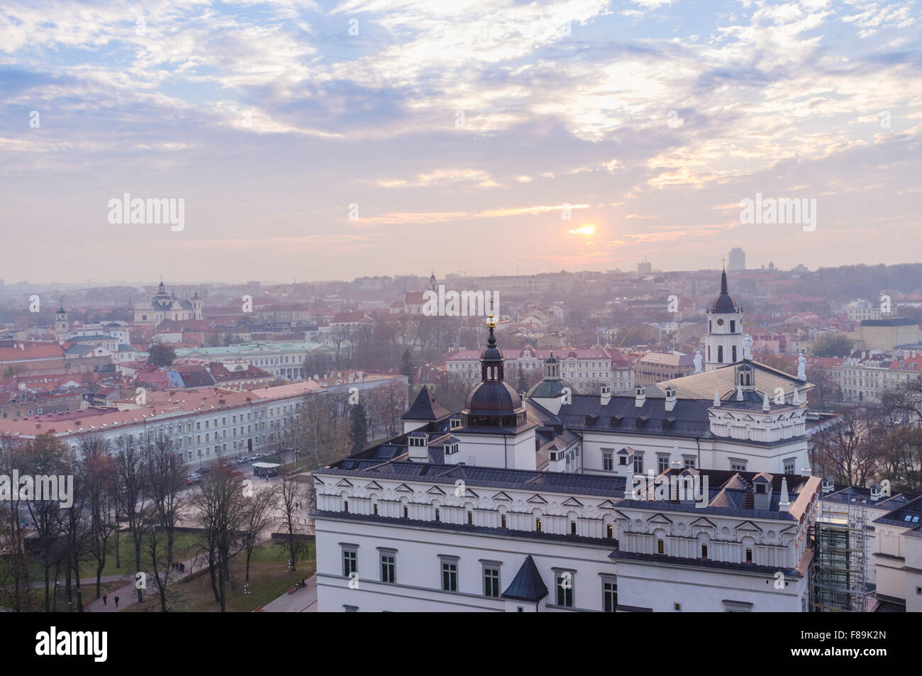 Old town overview and Grand Dukes Palace. Vilnius, Lithuania, Europe - Stock Image