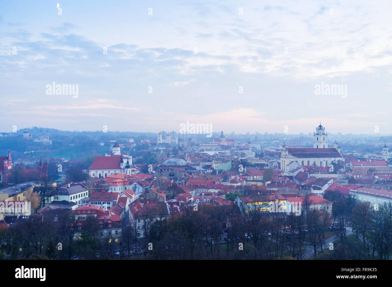 Old town overview at dusk. Vilnius, Lithuania, Europe - Stock Image