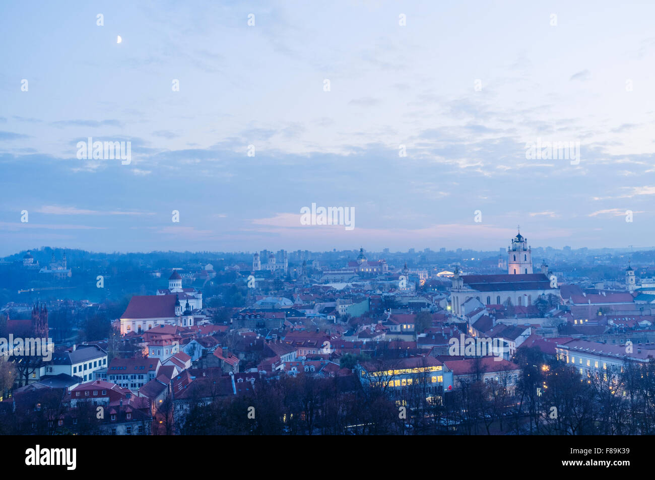 Old town overview at dusk. Vilnius, Lithuania, Europe Stock Photo