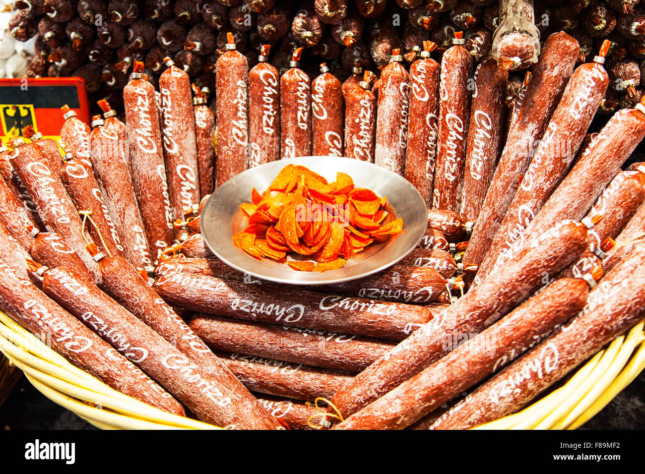 Chorizo sausage Spanish spicy sausages meat salami spiced meaty snack starter delicatessen display unhealthy food - Stock Image