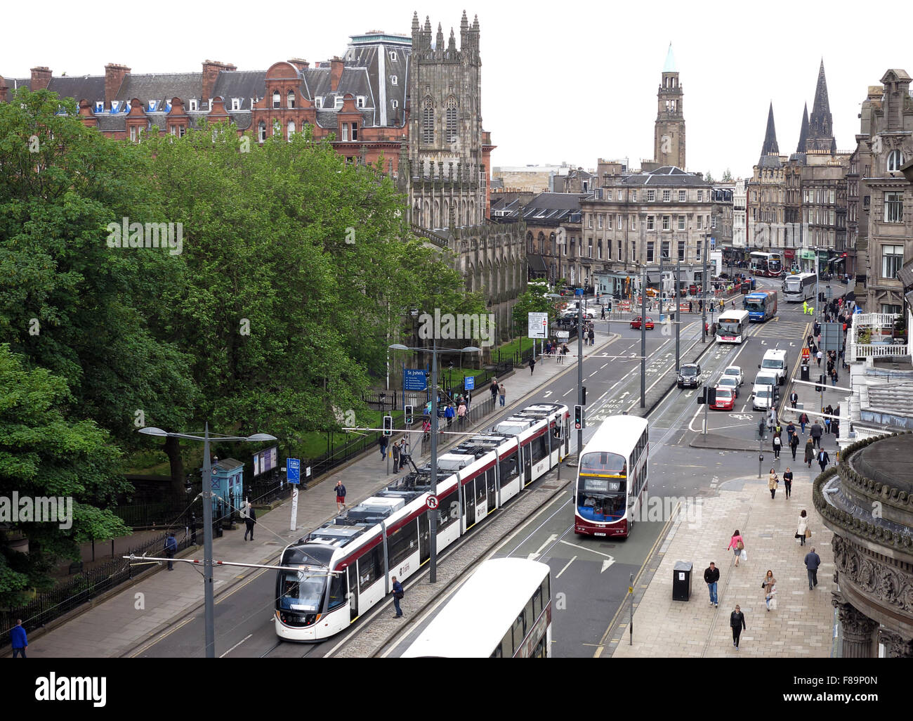 West End of Princes St with trams/buses, summer 2015,Edinburgh,Scotland,UK Stock Photo