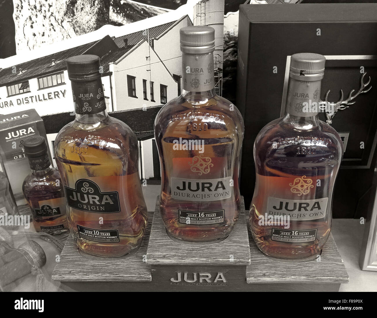 Jura Malt Whisky in shop window, Edinburgh,Scotland,UK - Stock Image