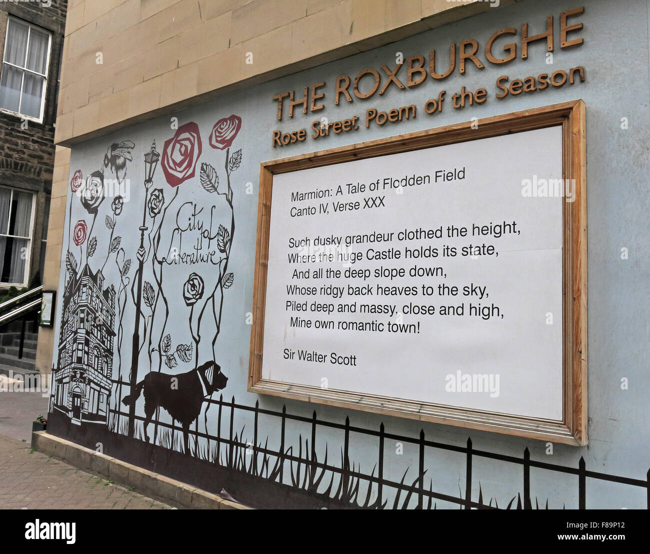 Rose Street poem of the season,Edinburgh,Scotland,UK - Stock Image
