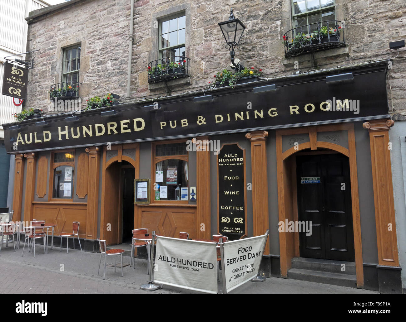 Auld Hundred Pub & dining Room, Rose St,Edinburgh City Centre,Scotland,UK - Stock Image