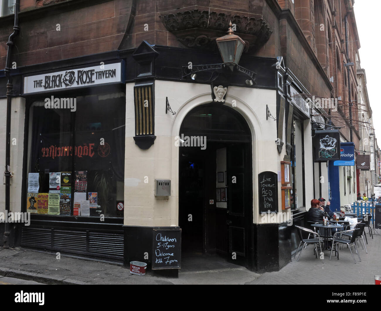 Black Rose Tavern,Pub Rose St,Edinburgh City Centre,Scotland,UK - Stock Image
