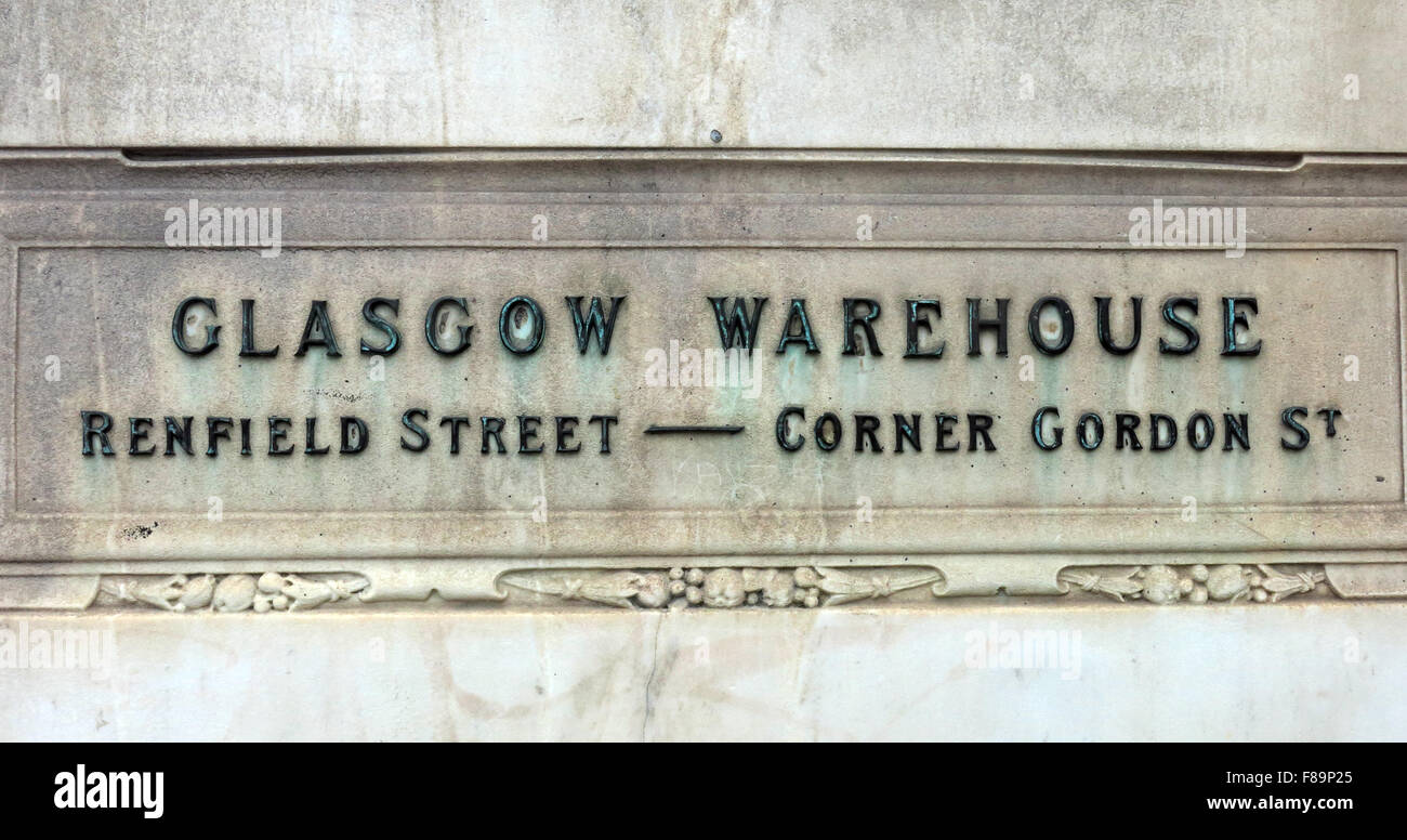 Glasgow warehouse Renfield Street Corner Gordon St sign at Jenners Store, Edinburgh, Scotland - Stock Image