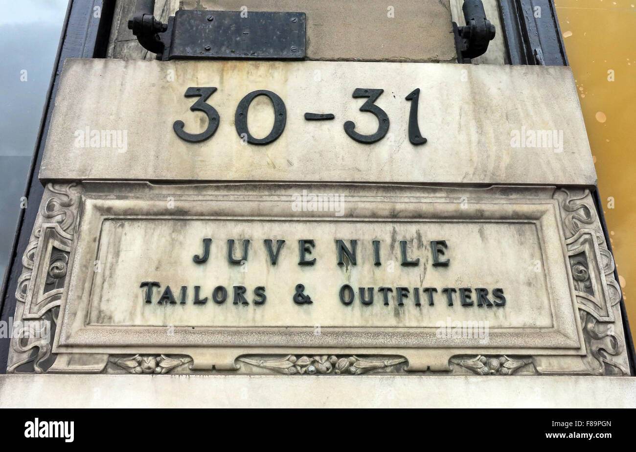 30-31 Juvenile Tailors & Outfitters sign at Jenners Store, Edinburgh, Scotland - Stock Image