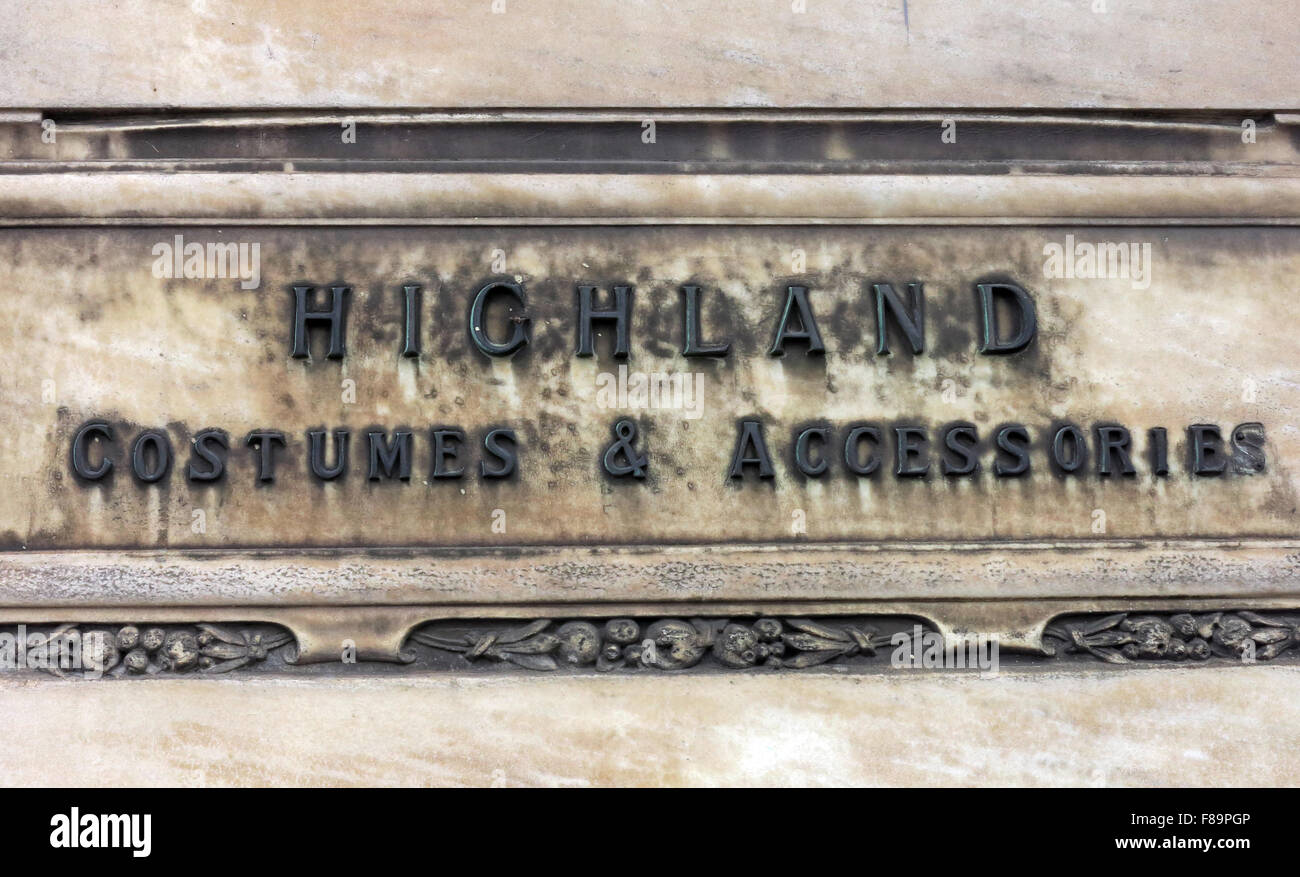 Highland Costumes & accessories sign at Jenners Store, Edinburgh, Scotland - Stock Image
