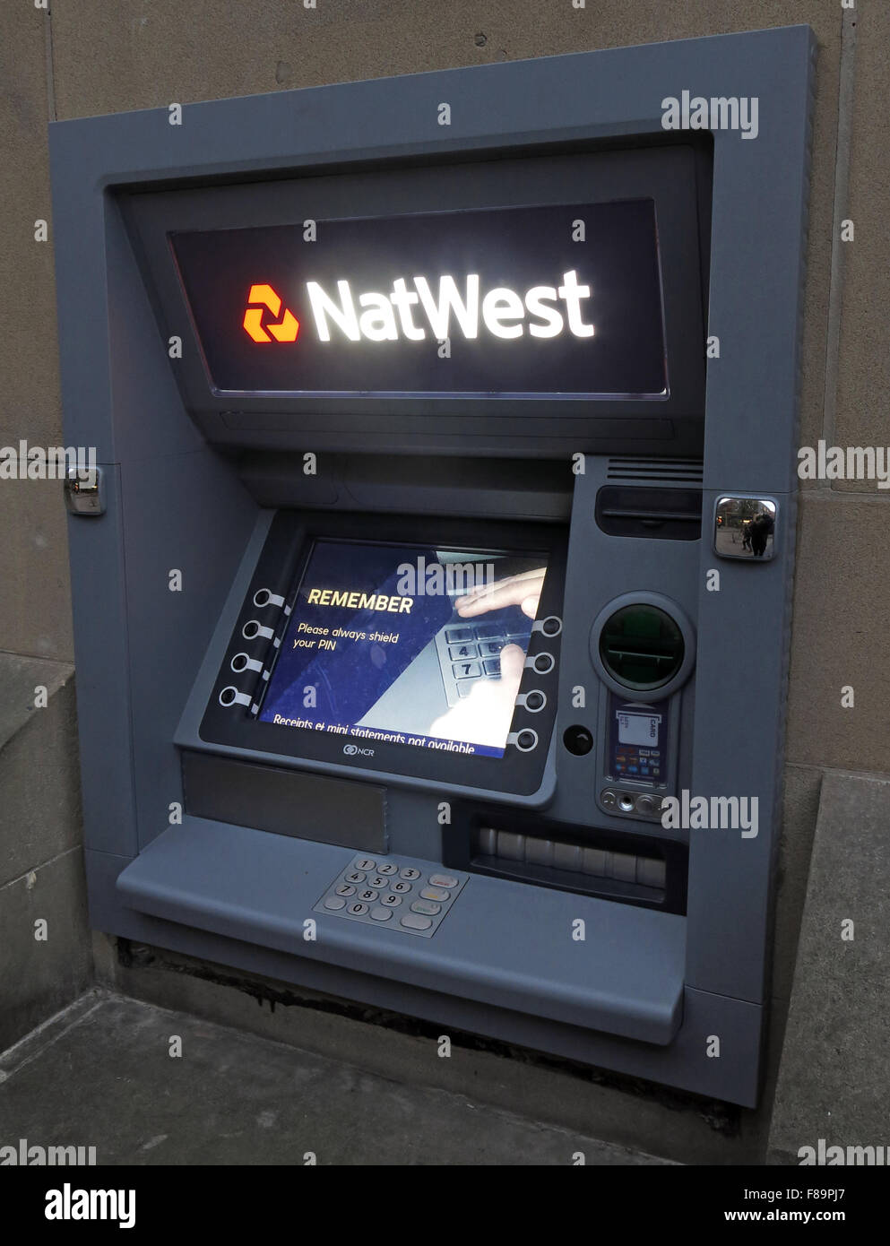 Natwest ATM hole in the wall machine, Warrington, Cheshire, England,UK - Stock Image