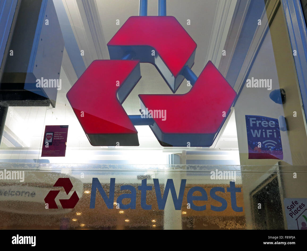 Natwest branch logo with free wifi window, Warrington, Cheshire, England, UK - Stock Image