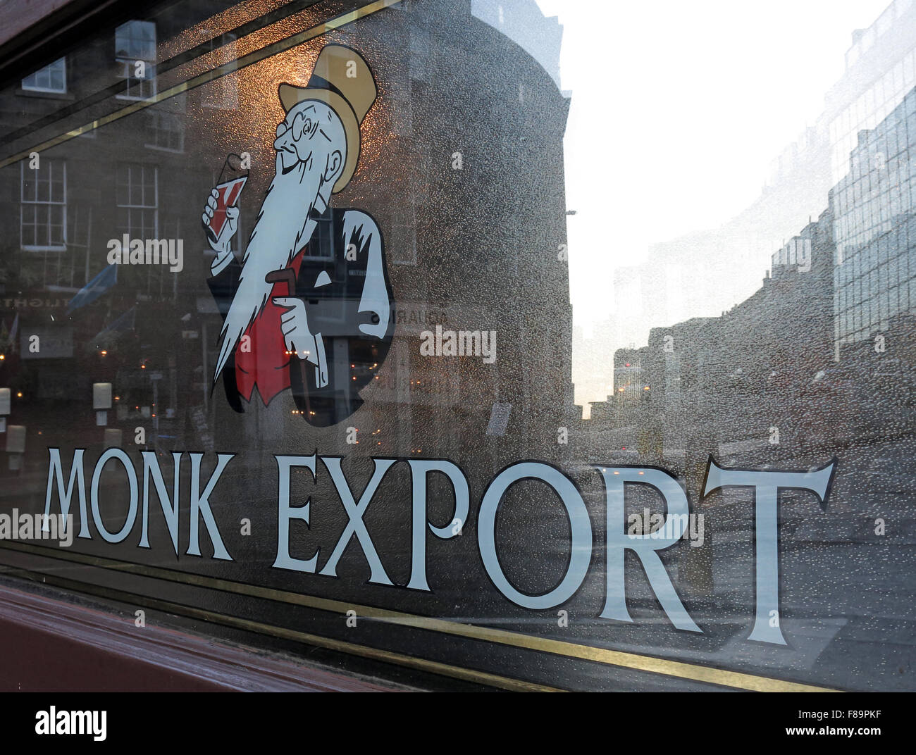 Monk Export Pale Ale window, Scottish Beers, Edinburgh,Scotland,UK - Stock Image