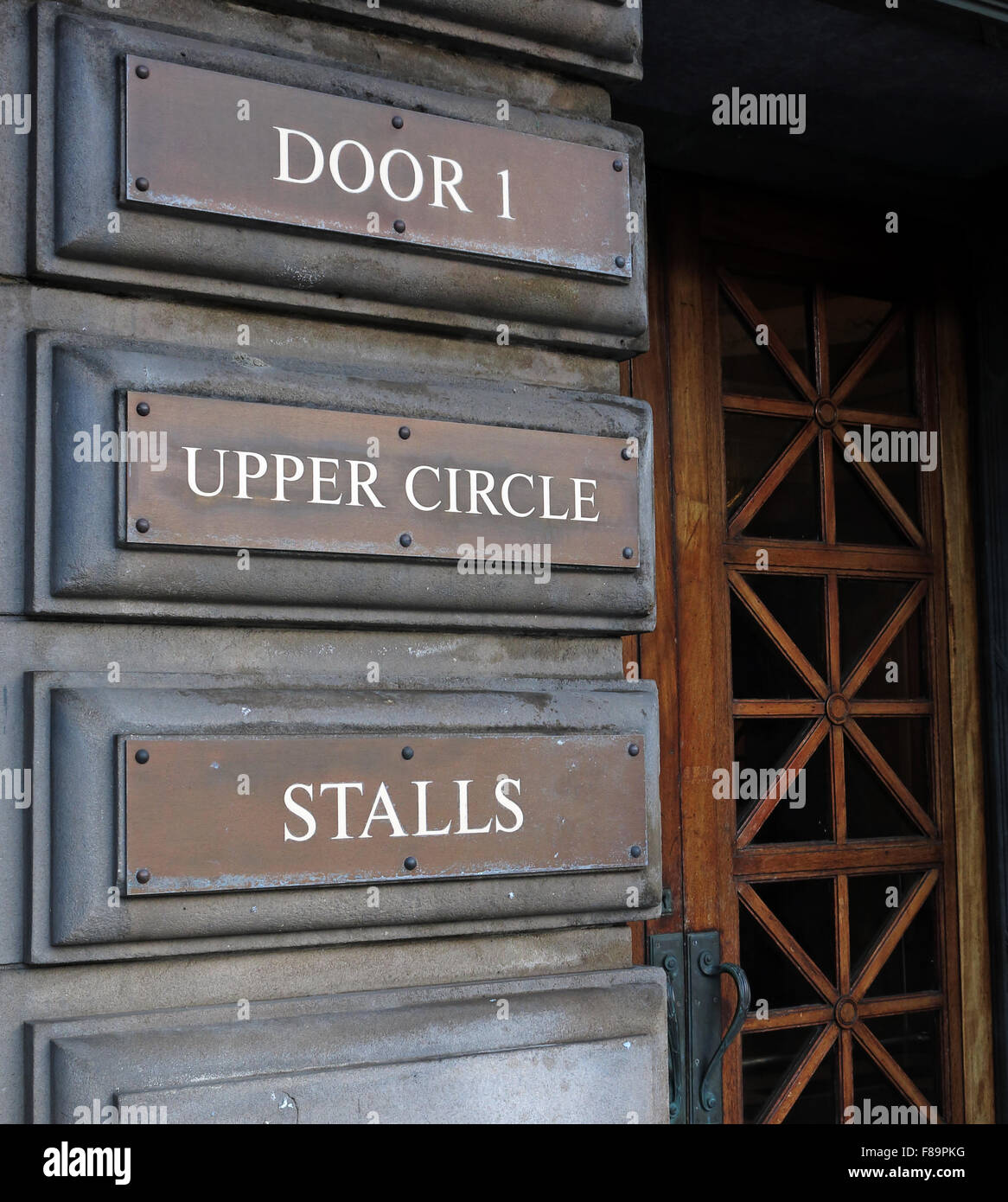 Usher Hall Door 1 - Upper Circle, Stalls, Lothian Road, Edinburgh,Scotland, UK - Stock Image