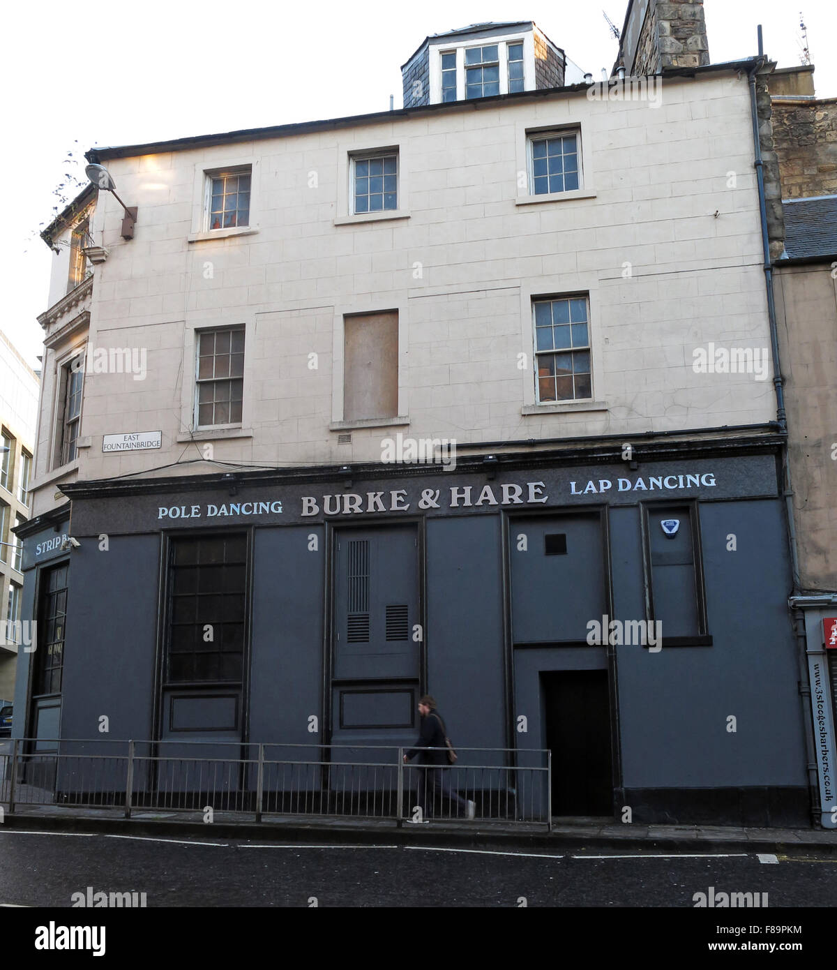 The Burke & Hare pole and lap dancing pub, 'Pubic Triangle', High Riggs, Edinburgh, Scotland, UK - Stock Image