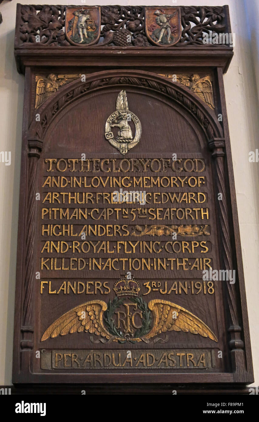 Arthur Frederic Edward Pitman grave monument in St John interior interior church memorials, Edinburgh, Scotland, - Stock Image