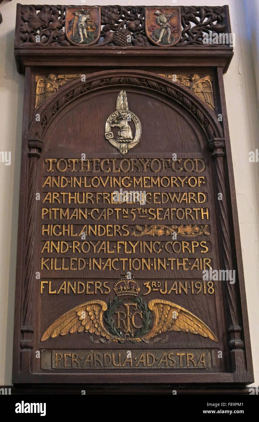 Arthur Frederic Edward Pitman grave monument in St John interior interior church memorials, Edinburgh, Scotland, - Stock Image