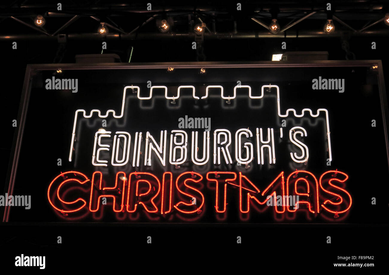 Edinburghs Christmas neon sign at night,Princes St,Scotland,UK Stock Photo