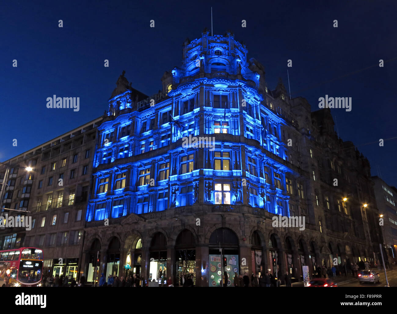 St Andrews day,Jenners Store lit in blue, Edinburgh, Scotland, UK at dusk - Stock Image