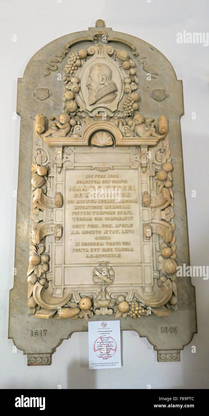 John Napier Mathematician memorial, St Cuthberts Church, Edinburgh,Lothian,Scotland,UK Stock Photo