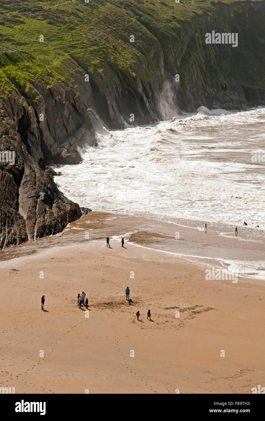 Mwnt Beach on the Ceredigion, or Cardiganshire, coast in West Wales, UK - Stock Image