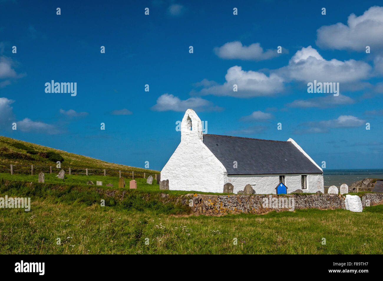 Mwnt Church on the Ceredigion, or Cardiganshire, Coast in West Wales, UK - Stock Image