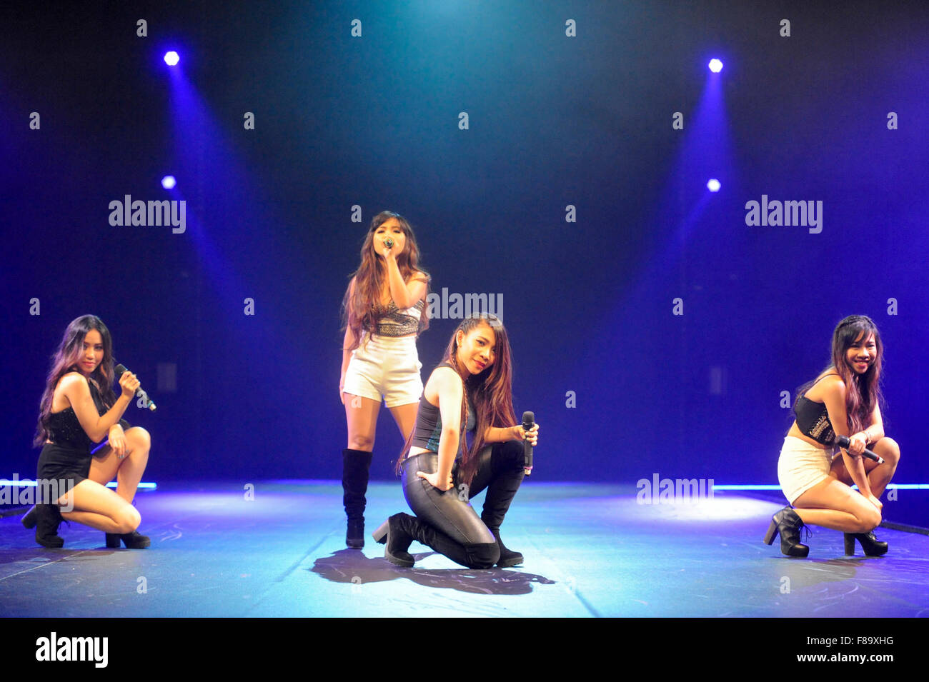 4th Impact perform Bang Bang on stage at Clothes Show Live, NEC, Birmingham, UK, 7th December 2015, after leaving - Stock Image