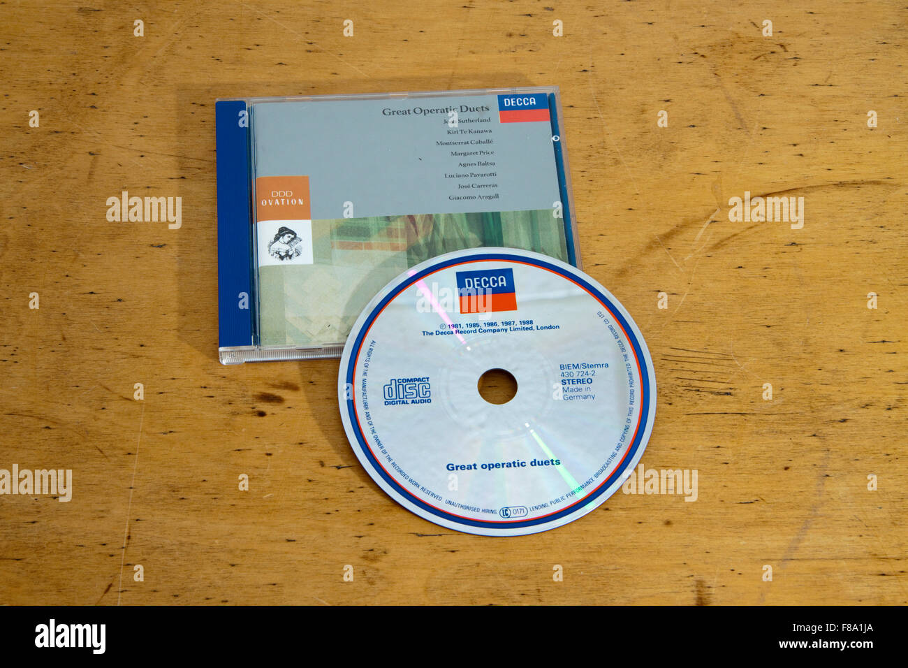 Compact disk/disc and case of Great Operatic Duets - Stock Image