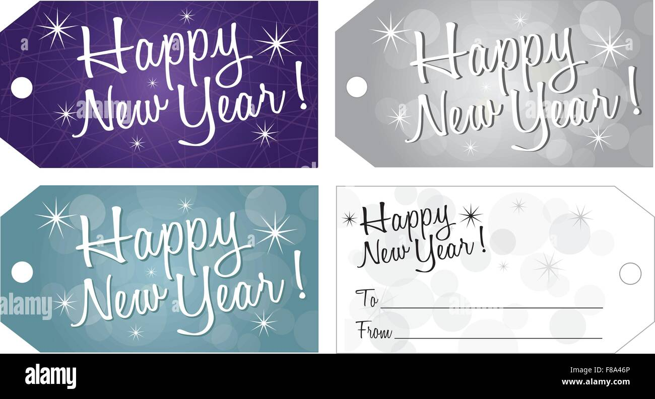 happy new year gift tag vector