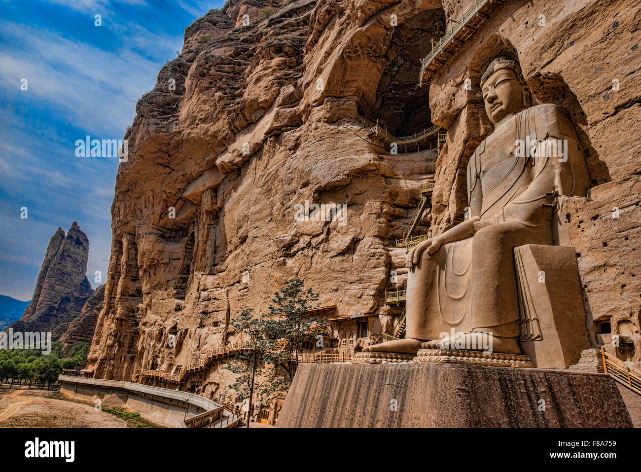 Huge Buddha statue, BIng Ling Cave and Temple Ganshu Province, China Yellow River - Stock Image