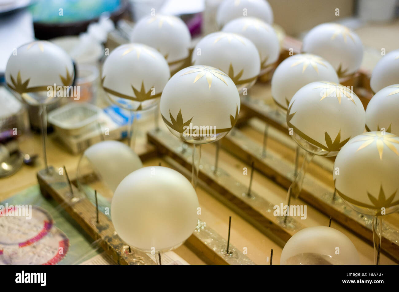 Piotrkow Trybunalski, Poland. 7th December, 2015. Unfinished Christmas balls pictured  at 'Szkło-Decor' - Stock Image
