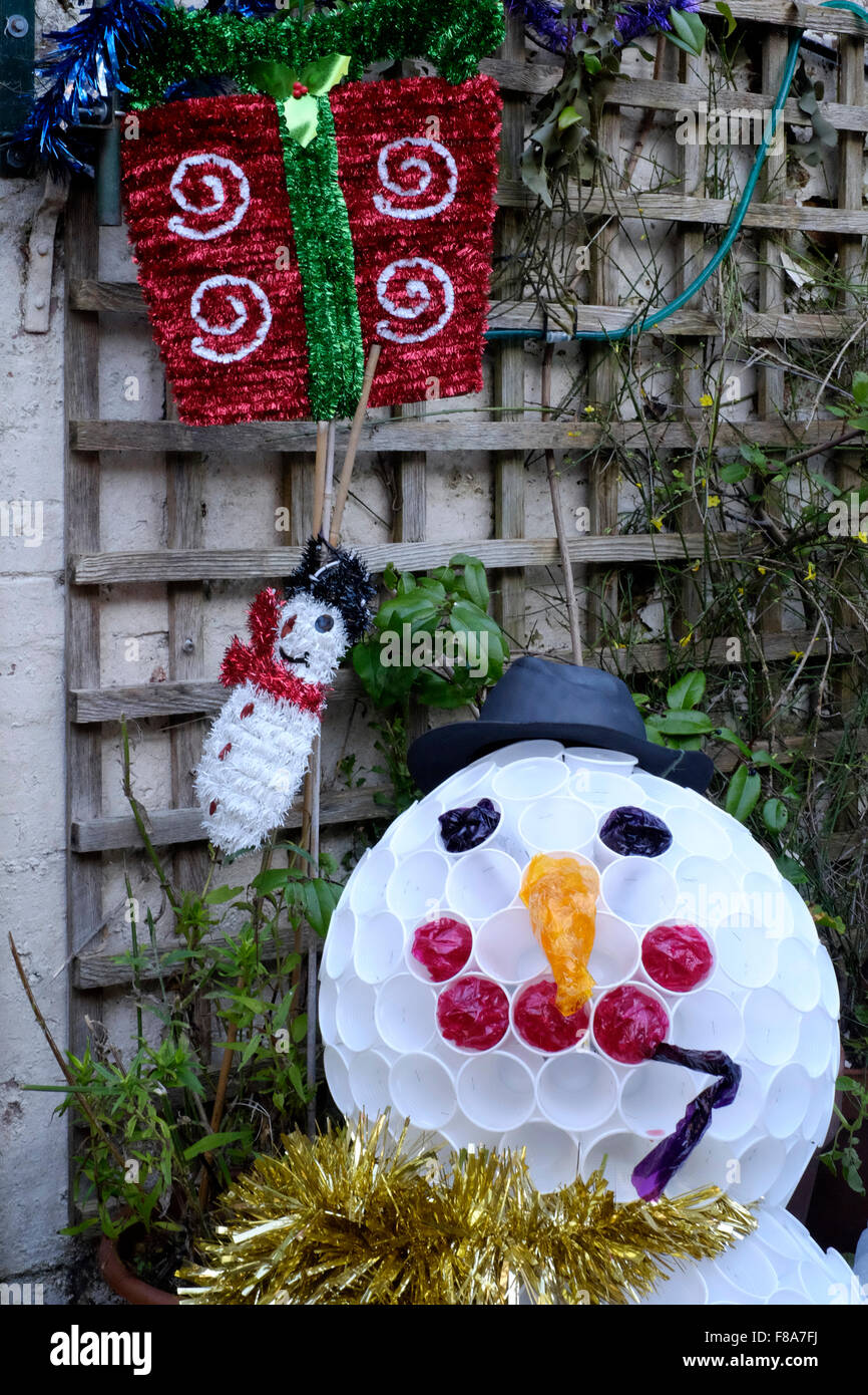 Christmas Garden Snowman Decoration Made From Plastic Cups