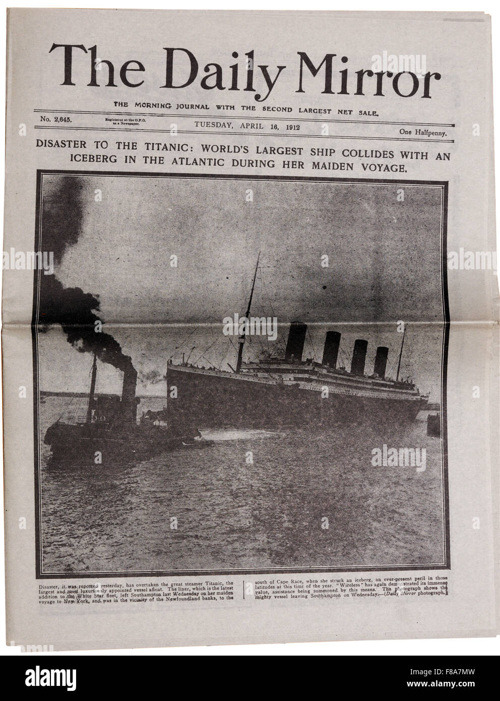 A reproduction of the Daily Mirror newspaper with the headline that the Titanic has sunk. - Stock Image